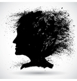 Soft woman silhouette in grunge style vector image