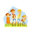 Family Dressed As Cowboys With Mountain Landscape vector image