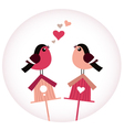 Cute Birds in love sitting on Birdhouses - retro vector image vector image
