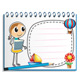 A notebook with a sketch of a young girl at the vector image vector image