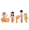 Kids children taking bath brushing teeth vector image