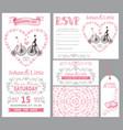 wedding invitation setbridegroomretro bikepink vector image