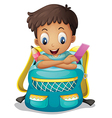 A boy inside a schoolbag vector image vector image