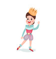 cute happy cartoon boy character in prince costume vector image