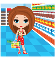 woman cartoon in a supermarket vector image vector image