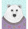 Cute hipster polar bear with christmas sweater vector image