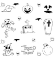 Halloween zombie and tomb in doodle vector image