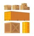 Brown carton packaging box pallet yellow vector image
