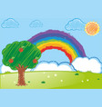 doodle arts for rainbow over the garden vector image