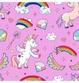 Pink hand drawn unicorns seamless pattern vector image