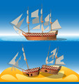ship at sea and shipwreck vector image