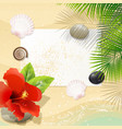 tropical beach with red hibiscus vector image