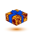 orange gift box present with blue bow and ribbon vector image