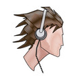 drawing avatar head guy young headphones vector image