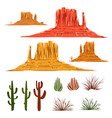 Mexican desert landscape cartoon elements vector image