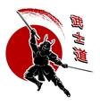 Samurai card template vector image