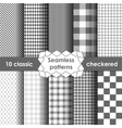 Checkered fabric seamless pattern grey and white vector image
