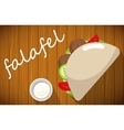 Plate of falafel with pita bread on wooden table vector image
