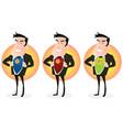 cartoon super hero double identity set vector image