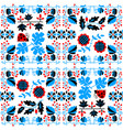 floral seamless pattern with ladybird and vine vector image