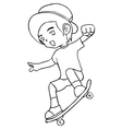 Line-art of a boy playing skateboard vector image