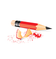 Red pencil with sharpener trash vector image