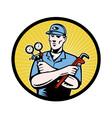 Retro repairman icon vector image