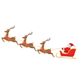 Santa on Sleigh and His Reindeers Isolated on vector image