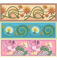 set of art nouveau borders vector image