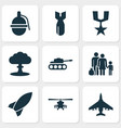 combat icons set collection of aircraft vector image