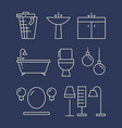 bathroom furniture and accessories line icons set vector image