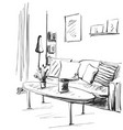 hand drawn room interior sketch sofa pillow vector image