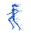 silhouette of running woman of polygonal particles vector image