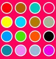 Colorful Paper Circles on Pink - Red Background vector image