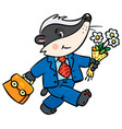 little funny badger goes to school vector image