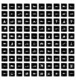 100 transportation icons set grunge style vector image