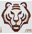 Isolate the face of Tiger on wood texture vector image vector image