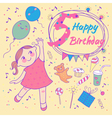 Birthday of the little girl 5 years vector image