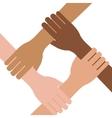 Multi ethnic hands teamwork unity vector image