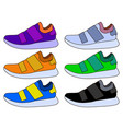 sneaker sport shoe color flat icon symbol set vector image
