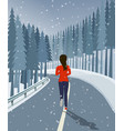 woman run on road surrounded by forest and snow vector image