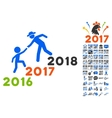 Years Guys Help Icon With 2017 Year Bonus vector image