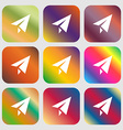 Paper airplane icon Nine buttons with bright vector image
