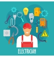 Electrician worker with electric repair tools vector image vector image