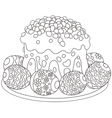 Easter eggs and a cake vector image vector image