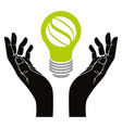 Hand with eco idea bulb symbol isolated vector image vector image