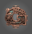 g rusted letter with gears vector image
