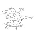 cartoon image of amazing skateboarding alligator vector image