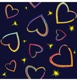 Seamless pattern with painted hearts vector image