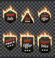 set of six horizontal frames surrounded with flame vector image